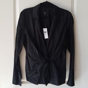 Eileen Fisher Black Steel Satin Jacket Blazer